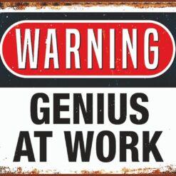 Warning- Genius at work
