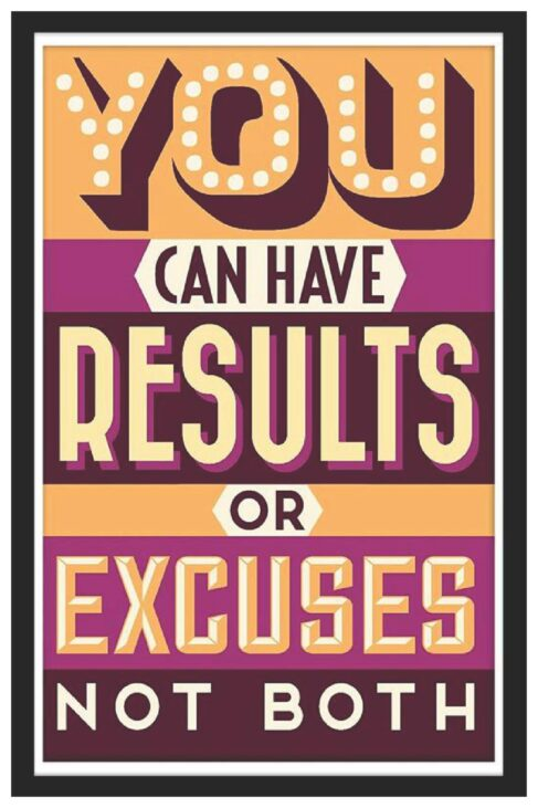 You can have results or excuses.